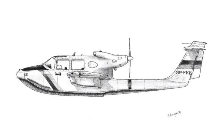 Pure fantacy seaplane pencil drawing