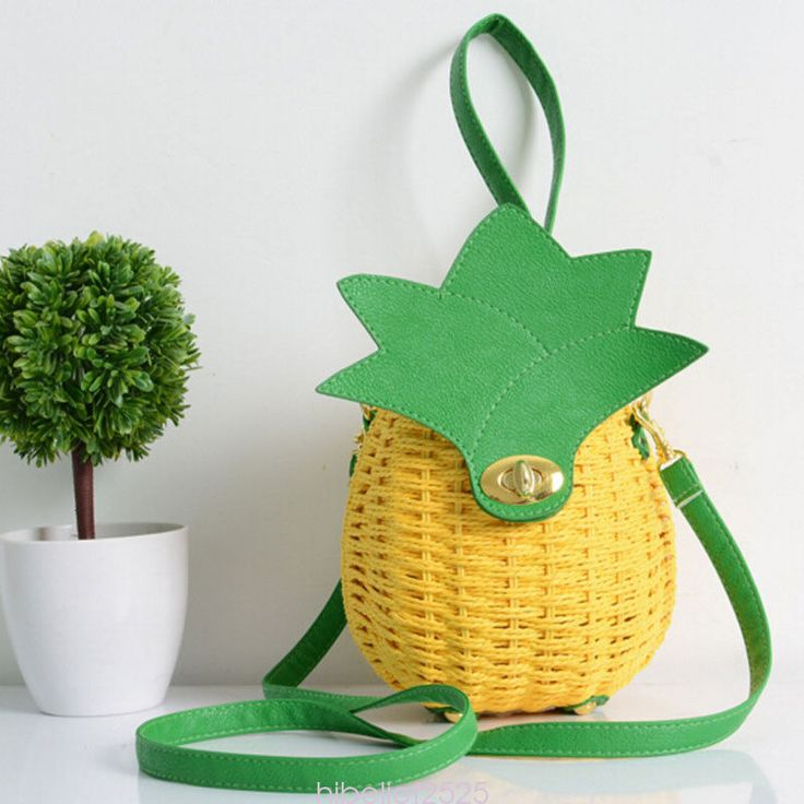 """★Unique pineapple style design,cute and fashionable.It could be used as clutch bag and cross body purse. ★ Material : Straw. ★ Approx Dimension: Height :19cm/7.46"""" Width:17cm /6.68"""" Depth:14cm /5.5"""" Shoulder strap :115cm Handle : 20cm. 