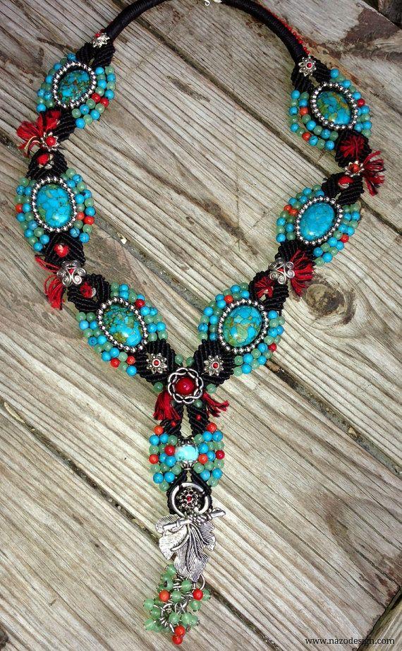 Macrame Necklace...  Blue Necklace.. Micro Macrame by NazoDesign, $83.00