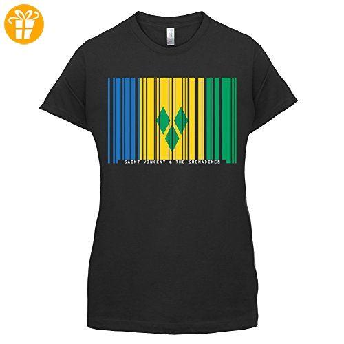 Saint Vincent and the Grenadines / St. Vincent und die Grenadinen Barcode Flagge - Damen T-Shirt - Schwarz - XL (*Partner-Link)