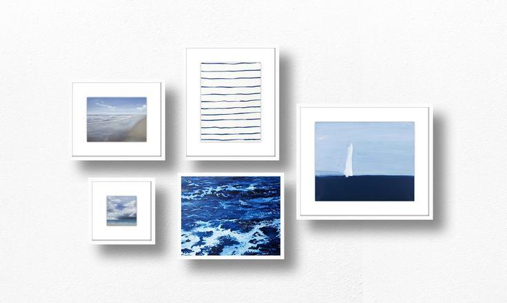 Seaside Musing on Artfully Walls; blue art gallery wall