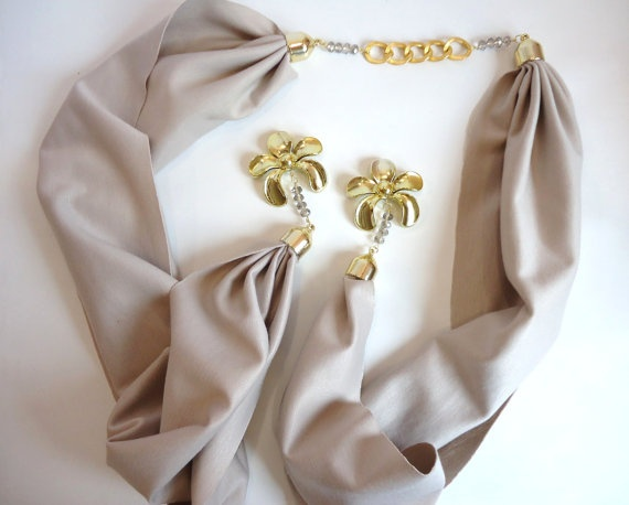 Beige Scarf Women Accessory  Jersey Scarf  2012 Spring by bytugce, $29.00
