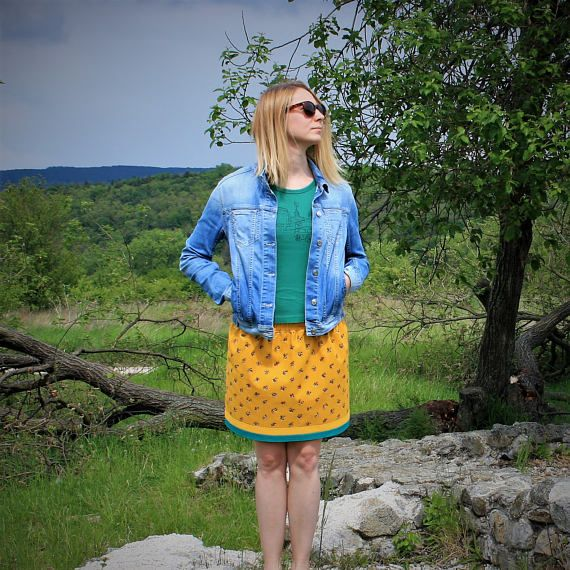 Yellow Circle Skirt With Small Flowers /  Spring Summer Yellow