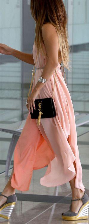 Peach colorblock maxi dress // buy hereYSL Crossbody Bag