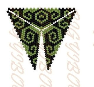 Bigyibogyó: Peyote háromszög - zöld kacskaringós