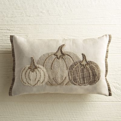 As far as style goes, our latest harvest pillow is at the top of the crop. Featuring a trio of patterned pumpkins woven in cool neutral hues, plump poly insert and hidden zipper, it's comfy, refined and ripe for the picking.