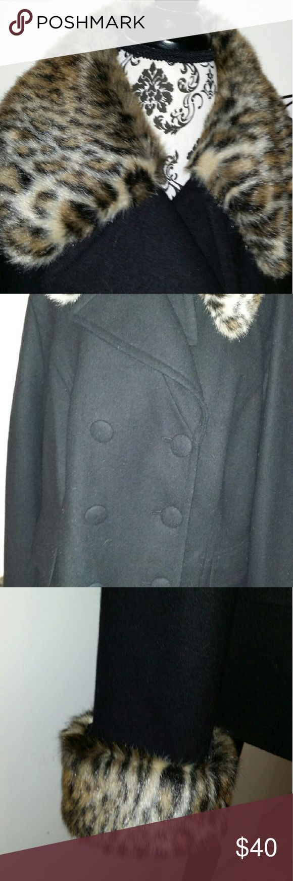 Plus size coat Plus size peacoat with leopard fur INC International Concepts Jackets & Coats Pea Coats