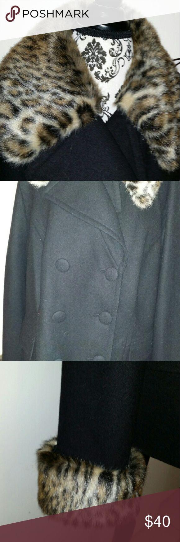 Plus size coat Plus size peacoat with leopard fur INC International Concepts Jackets & Coats Pea Coats