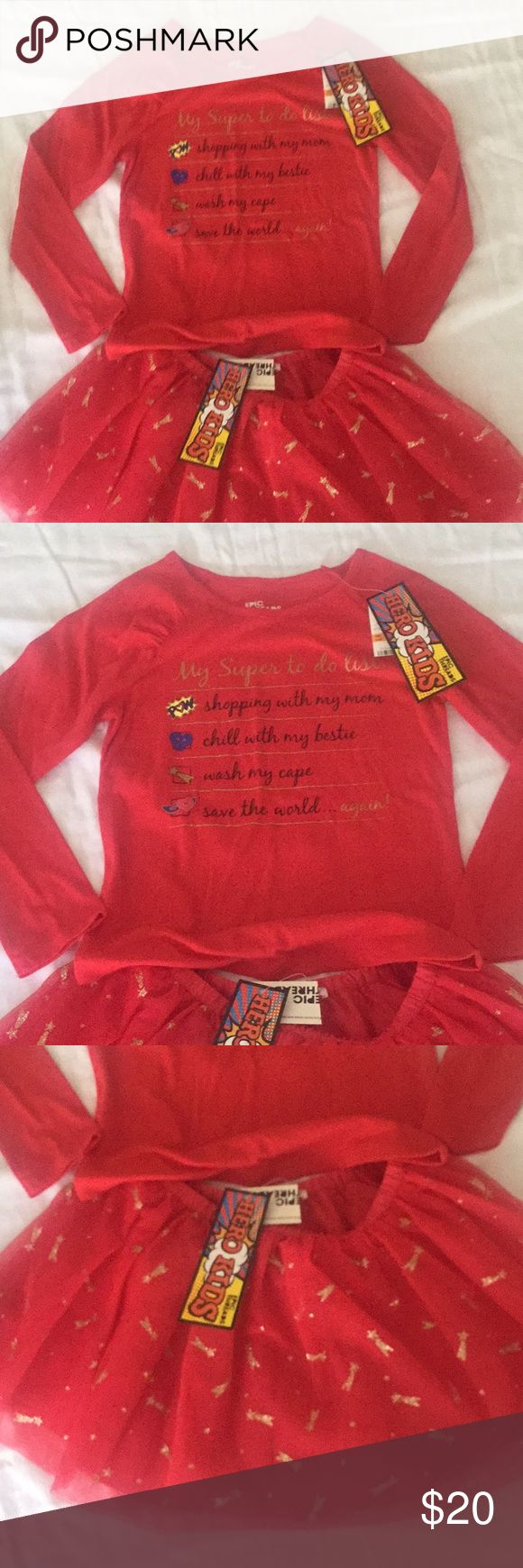 Epic Threads girls 2 pc Sz 6x NWT Epic Threads Girls Size 6X For your little supergirl! New with tags Kids love to wear these Hero Kids clothes The adorable skirt is a tutu style with gold glitter - called lollipop The top has sayings of a super girl list Epic Threads - Hero Kids Matching Sets