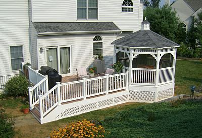 Did you know you can economically cover your deck, with plenty of ole-fashion charm, by adding an open or screened gazebo?