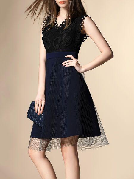 Mesh Paneled Cotton-blend Mini Dress