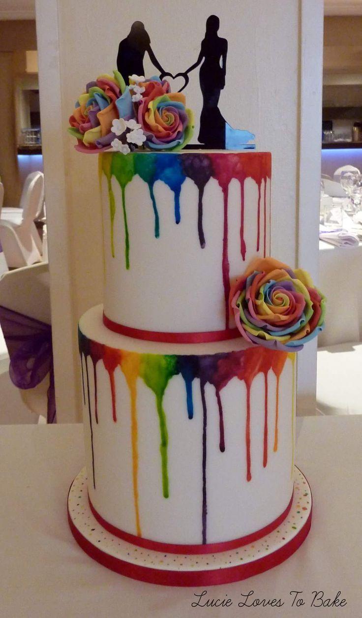 Helle und bunte Hochzeitstorte mit Regenbogenfarben des homosexuellen Stolzes! H …   – Kuchens