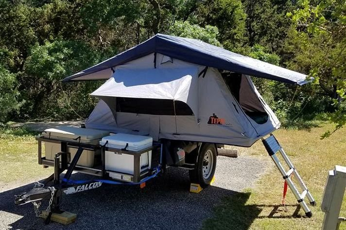 Utility Trailer + Roof Top Tent = A great budget friendly, multi-purpose Compact Camping trailer setup. Photo by ChuckandCindy Hood