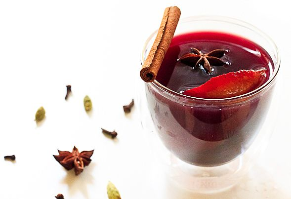 Glühwein – Mulled Wine Recipe 1 bottle of bold dry red wine (I used a Cabernet Franc) 1/2 cup of brandy or rum (optional) 1 cup water 1 large orange, peeled then juiced 1 lemon, peeled 1 lime, peeled (optional) 1/2 cup agave syrup or vanilla sugar campaignIcon Shop 5-6 whole cloves 1 nutmeg, about 10 gratings 1 cinnamon stick 1 vanilla bean, halved 2 star anise