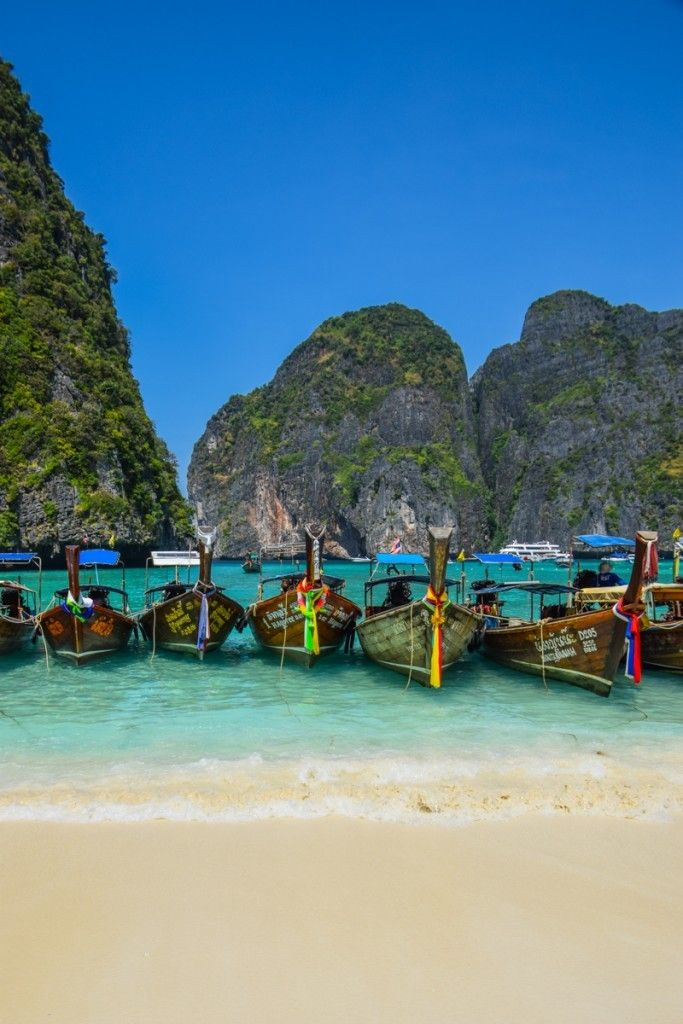 "Maya Bay - Phi Phi Islands, Thailand - This sublime bay shot to tourism stardom in the 2000 Leonardo DiCaprio movie ""The Beach"""