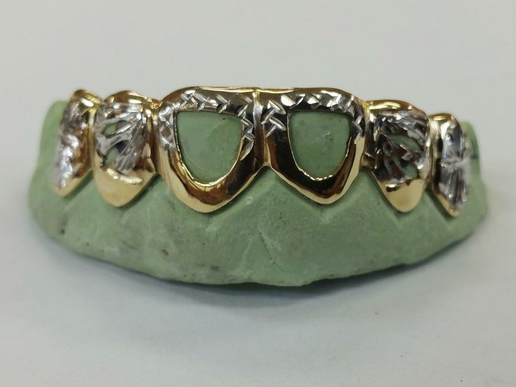 Grillz Dental Grills 152808: S. Silver 10K Or 14K Solid Gold Custom 2 Tone Open-Cut Diamond Cut Grill Grillz BUY IT NOW ONLY: $105.0