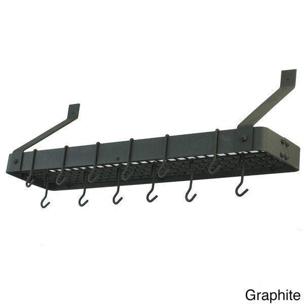Steel Graphite Bookshelf Style Pots Rack Kitchen Organizer with 12 Hooks #OldDutch