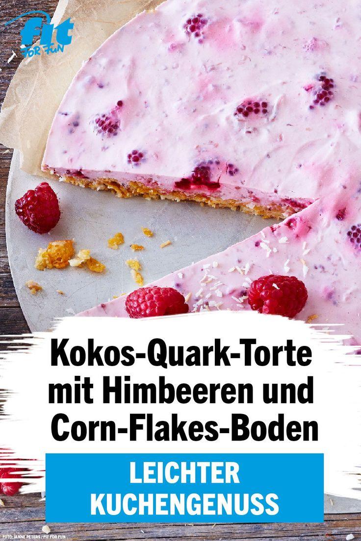 Ein Stück dieses himmlisch leckeren Kokos-Quark-Kuchens mit Himbeeren und Cornflakes …   – Gesunde Dessert-Rezepte