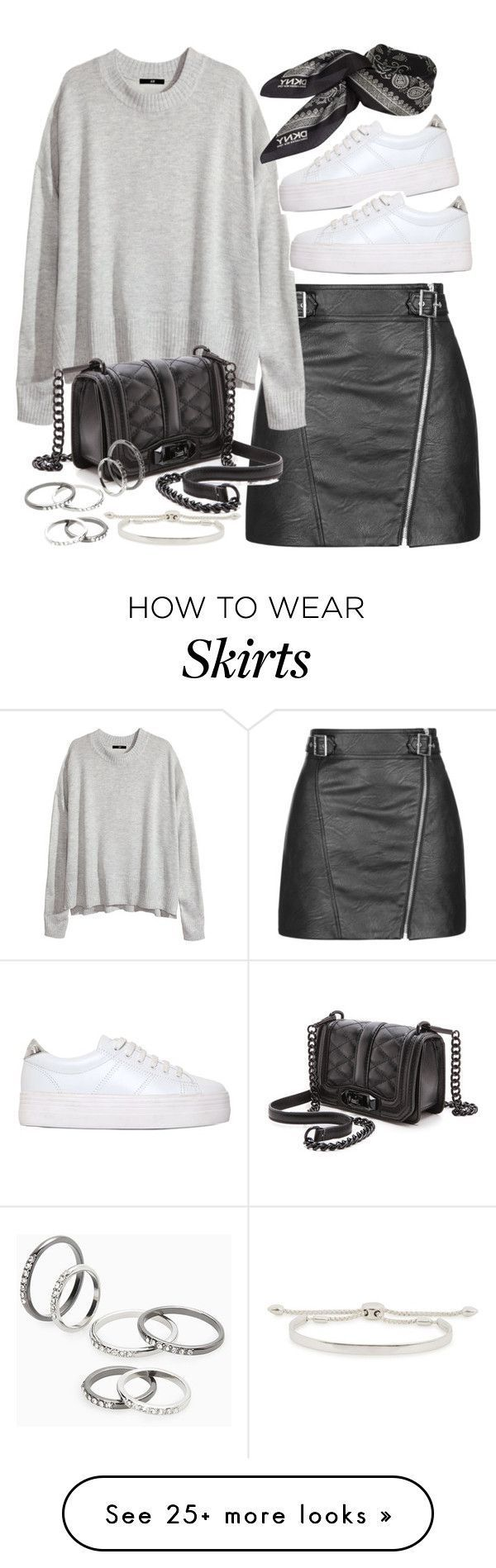 """Tendance Basket 2017  """"Outfit with white sneakers and a faux leather skirt"""" by ferned on Pol"""