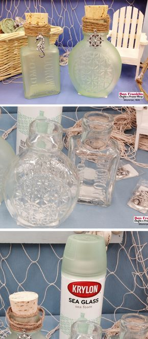 "DIY Beach-Inspired Sea Glass Jar - Have you noticed how much attention the ""Beach Decor"" has been getting this year? It's very trendy and we think it's because of the soothing and calming colors that come with this coastal decor.  We bring you the beach look with this easy to make Sea Glass Jars using Krylon Spray Paint! Use any old jars (make sure they're clean and dry), or come in to check out our huge selection of glass jars and bowls."