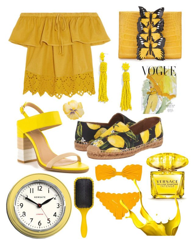 """YELLOW"" by canara-imin on Polyvore featuring Madewell, BaubleBar, Nancy Gonzalez, ALDO, Dolce&Gabbana, Art for Life, Versace, Marysia Swim, Newgate and Denman"