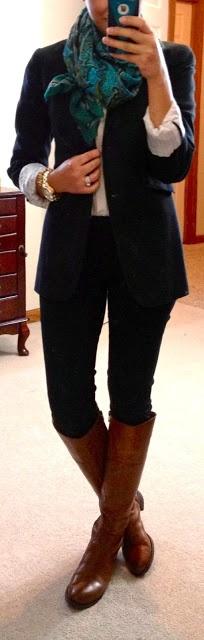 Work style - skinny dress pant, roll blazer sleeves, black work boots, scarf.