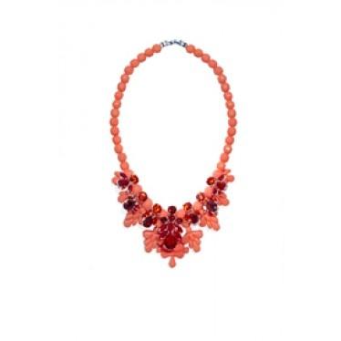 EK SN018 Necklace in Fresh Salmon + Orange CZ