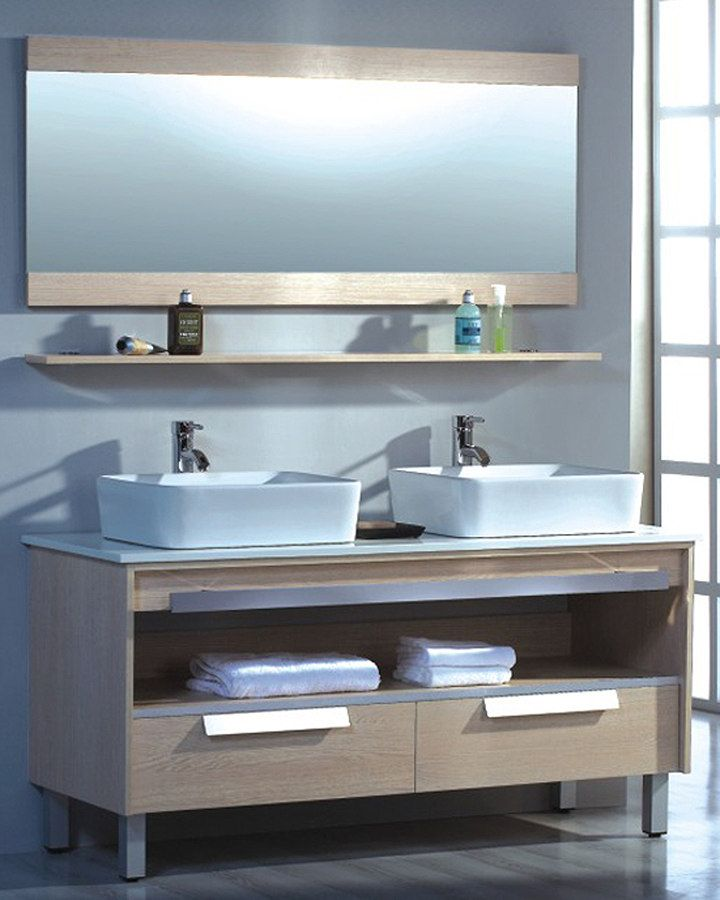 ... Modern Double Vessel Sink Bathroom Vanity with Tempered Glass Counter  Top · Loading zoom
