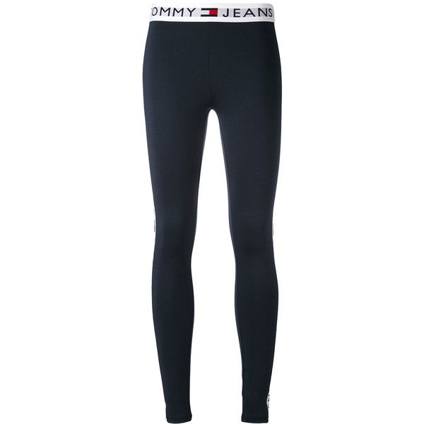 Tommy Jeans branded waistband leggings (£110) ❤ liked on Polyvore featuring pants, leggings, pantalon, blue, tommy hilfiger, legging pants, tommy hilfiger trousers, blue pants and blue leggings