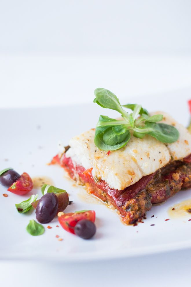 Fish with mediterranean vegetables and trapanese pesto