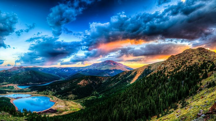 2560x1440 Wallpaper sunset, mountain, lake, landscape