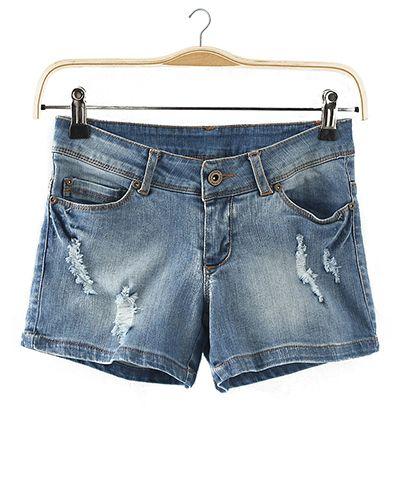 Distressed Denim Shorts With Rips @yoyomelodydress