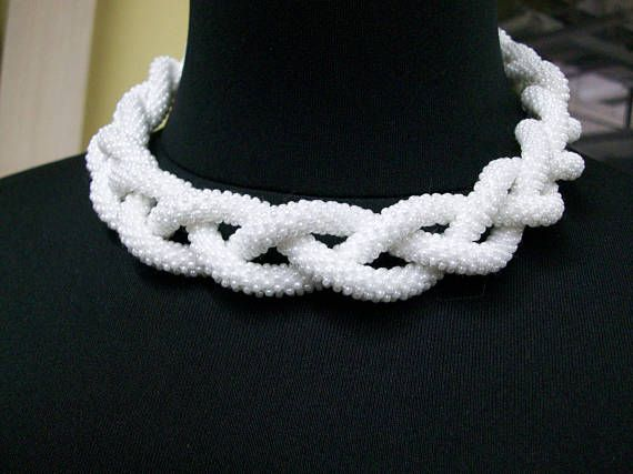 FREE SHIPPING: White braided crochet rope necklace Bride