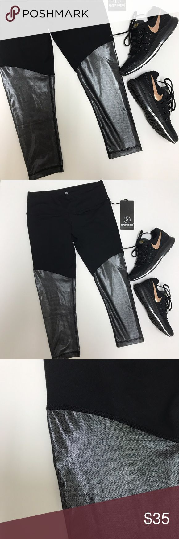 {90 Degree} Metallic Silver Mesh Crop NWT. Black & silver (more of a gunmetal) gym/running/just-generally-looking-badass crop. 90 Degree by Reflex. Size small. { Super Fast Shipping / 15% Off Bundles / Reasonable Offers Are Welcome, But Lowballing Makes Me Sad } 90 Degree by Reflex Pants Ankle & Cropped