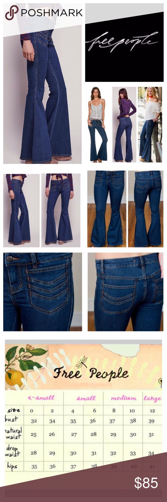 """Free People Stella Stretchy Flared Jeans.  NWT. Free People Stella High Rise Stretchy Flared Jeans, 50% cotton, 23% rayon, 22% polyester, 2% spandex, machine washable, 27"""" waist, 8"""" front rise, 13"""" back rise, 34"""" inseam, 27"""" leg opening all around, super stretch fabric, chevron-embroidered patch pockets further the hip throwback vibe of these stretch denim that sculpt your figure through the thighs before flaring into a dramatic bell shape, pockets trimmed in orange thread, zip fly button…"""