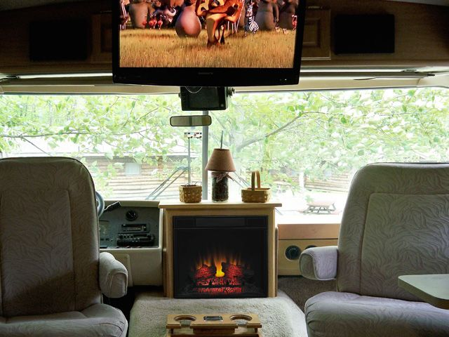this customer put an electric fireplace in their rv so. Black Bedroom Furniture Sets. Home Design Ideas