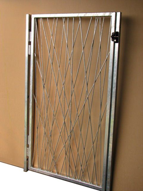 Pick Up Sticks round bar gate handmade by Entanglements metal art. Galvanized silver outdoor finish