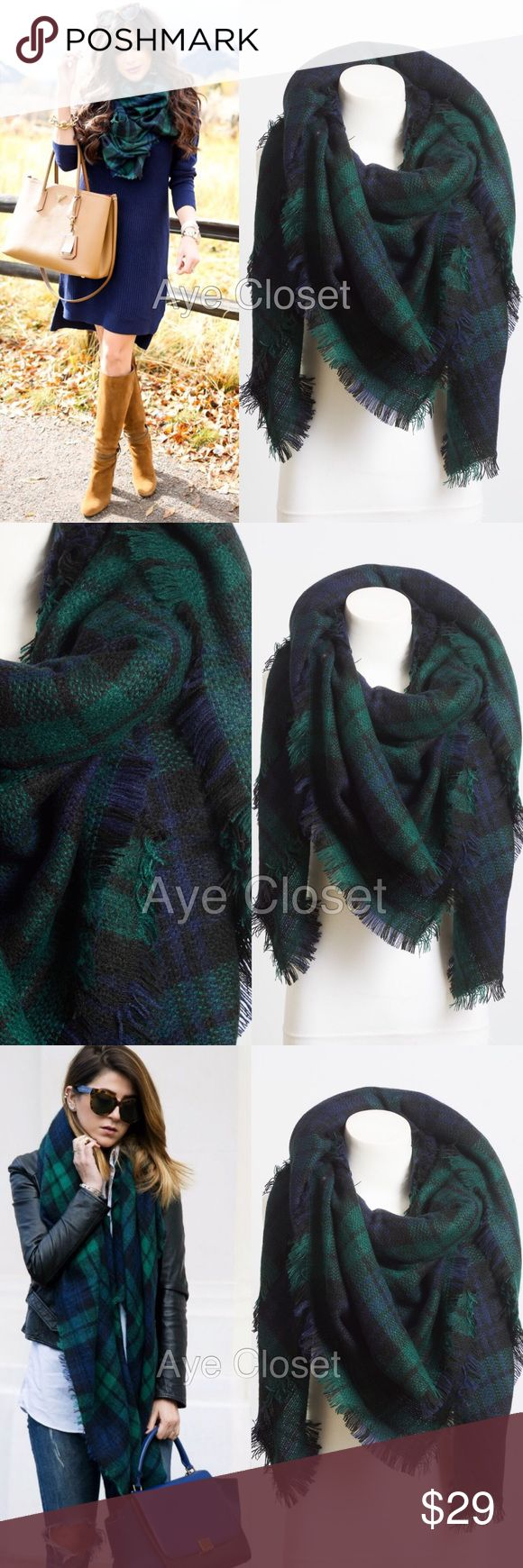 "New tartan blanket plaid scarf wrap shawl checked New Tartan Blanket Plaid scarf wrap shawl checked  Brand New without tags. Retail item. Soft, cozy and warm. Tartan Blanket Plaid scarf wrap shawl checked. Very stunning and classic. So many ways to wear it. Material : 100% Acrylic. Measurement : 60""x 55"" navy blue green combo Boutique Accessories Scarves & Wraps"