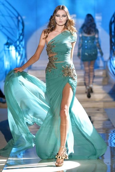 Zuhair Murad - turquoise: Evening Dresses, Mint Green, Zuhairmurad, Zuhair Murad, Taylors Swift Dresses, Spring Summer, One Shoulder, Prom Dresses, Haute Couture