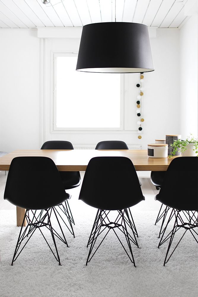 Dining room - DSR Vitra chairs black in black