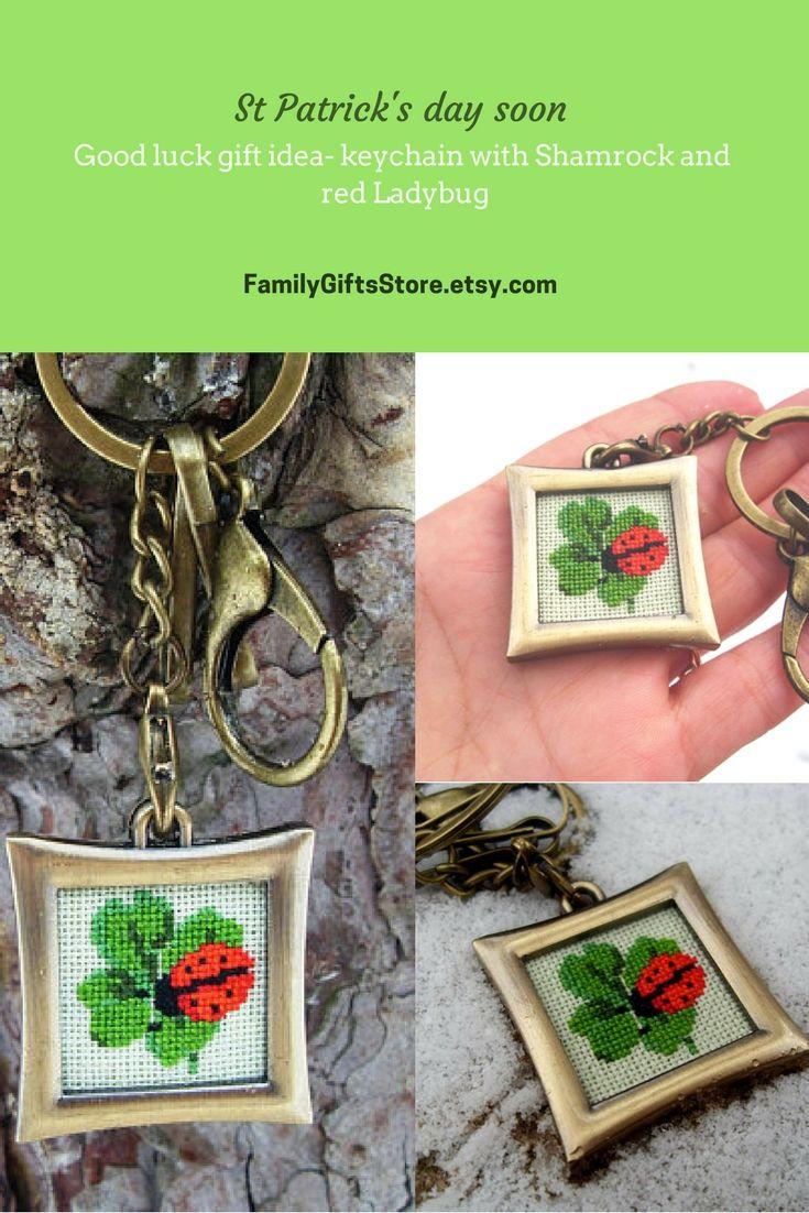 Good luck gift idea St Patricks day accessory Metal bronze color keychain Irish lucky bag charm Green Four Leaf Shamrock red Ladybug keyring #GoodLuckGift #PatrickDayaccessory  #MetalKeychain #Luckycharm
