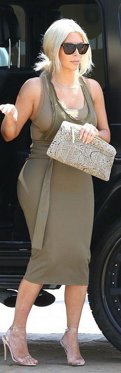 Kim Kardashian's wearing Shirt and skirt – Faith Connexion Sunglasses – Saint Laurent Shoes – Manolo sunglasses available in all black