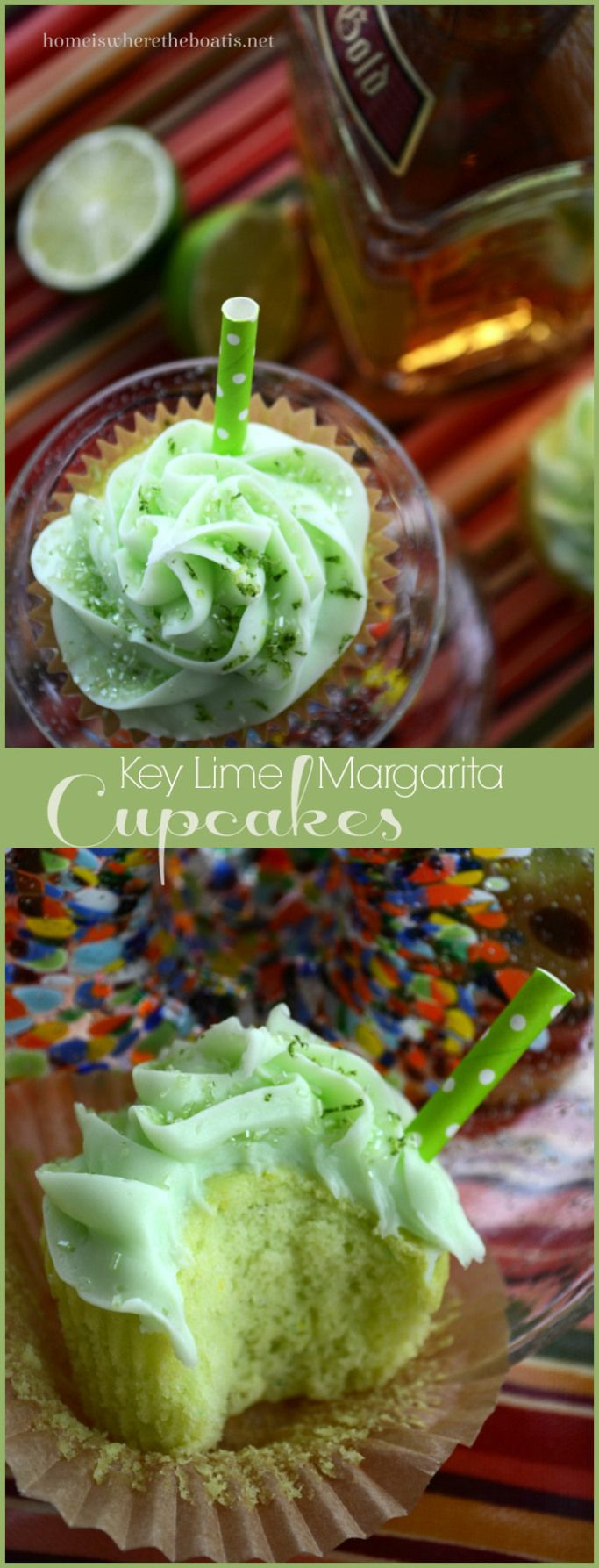 Key Lime Margarita Cupcakes! These cupcakes are muy bueno and would be fun for a summer fiesta too! | homeiswheretheboatis.net #CincodeMayo #cupcakes