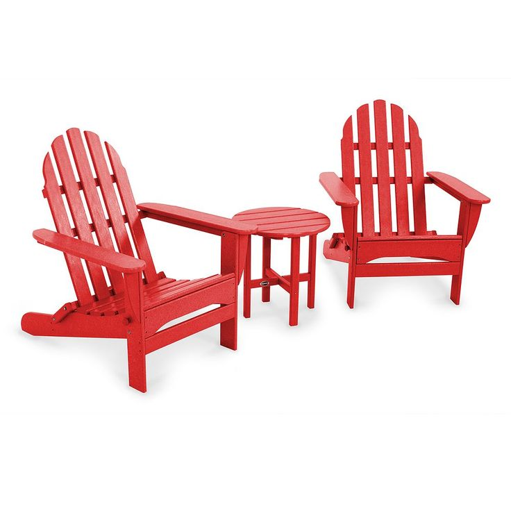 POLYWOOD 3-pc. Classic Folding Adirondack Chair and Table Set - Outdoor, Red