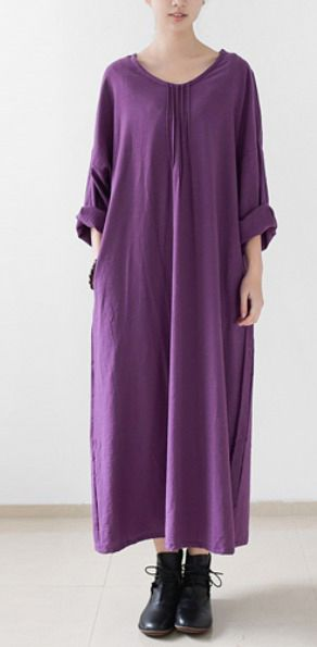 Purple cotton dresses fall long maxi dress