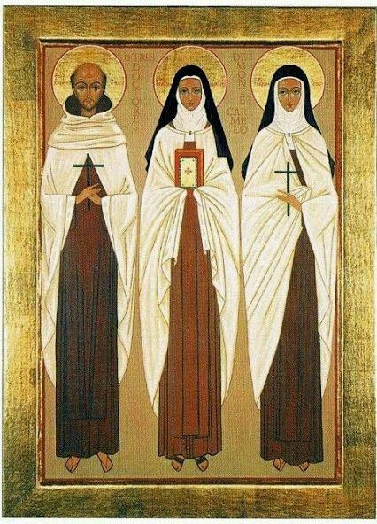 Icon of Saints John of The Cross, Therese of Lisieux and Teresa of Avila.