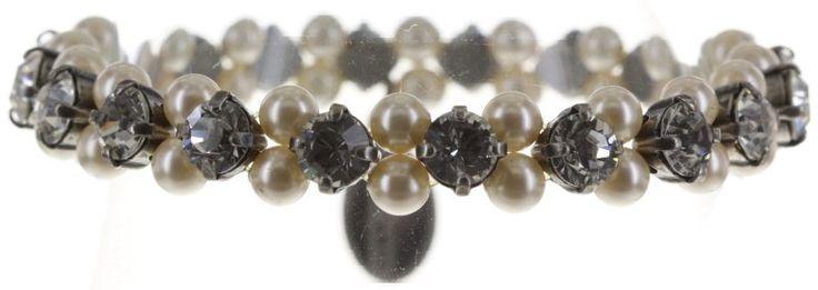 bracelet elastic Pearl Shadow white crystal medium