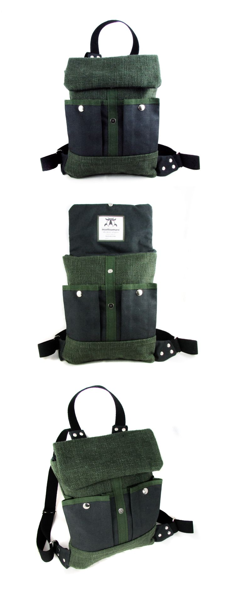 #insettoamaro Winter|Fell #backpack DarkOliveGreen twill with GraphiteGray canvas