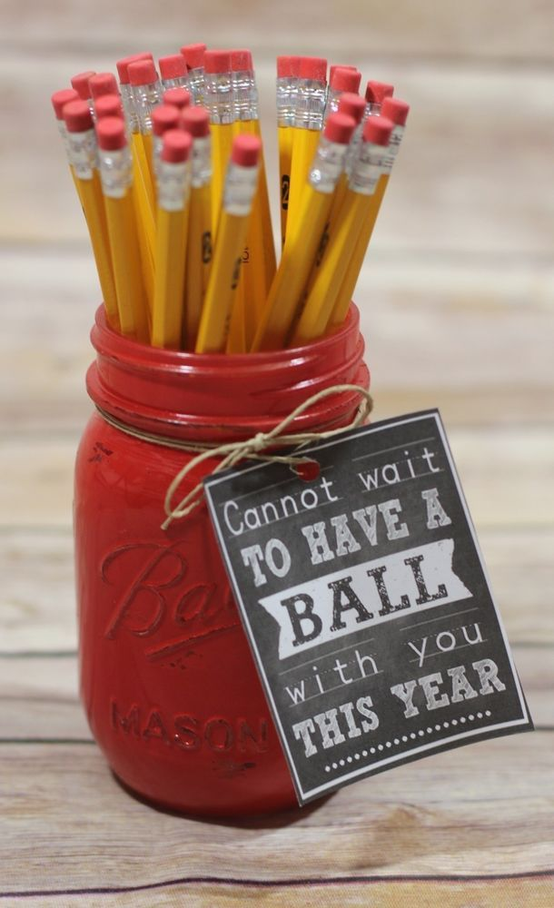 Gift for Teacher Great Teacher Gift for First Day of School. Each Ball Mason Jar comes with tied note for the teacher. Only $6