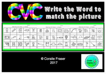 This resource contains 5 worksheets to give your Kindy kids practice in writing CVC words to match the pictures supplied. There is one page for each vowel family.Please let me know if you would like any changes made. Email: cfraser@avondaleschool.nsw.edu.auLove having you stop by!